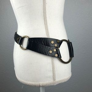 CAbi Accessories - CAbi black leather belt with brass buckle/rings